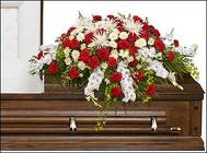 GRACEFUL RED & WHITE CASKET SPRAY from Flowers by Ramon of Lawton, OK
